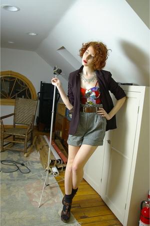 red Forever 21 top - black Wetseal blazer - silver Forever 21 shorts - blue vint