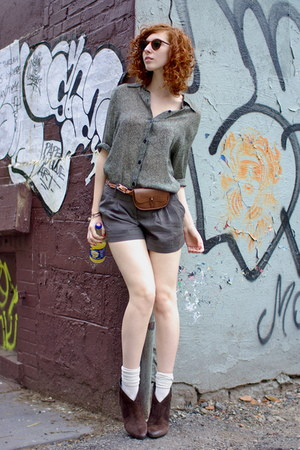 ASH boots - Forever 21 shorts - Lucky Brand Jeans belt - thrifted blouse - thrif