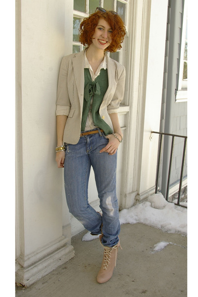 white H&M blouse - green brooklyn industries vest - white Jcrew blazer - blue Pa