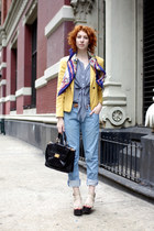 light blue Gap boyfriends jeans - yellow aryn k blazer - blue silk vintage scarf