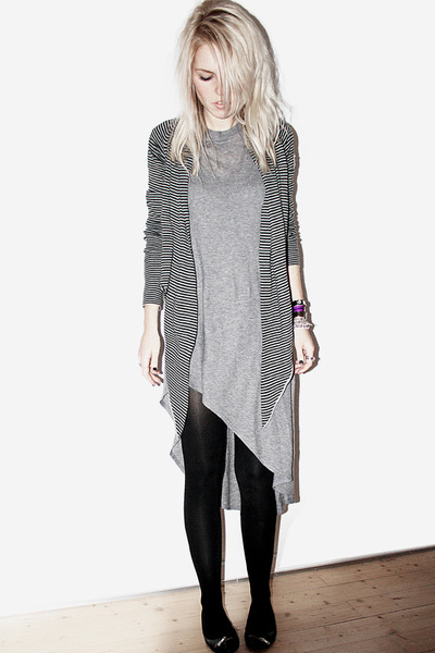 black Repetto shoes - gray Topshop dress - gray All Saints cardigan