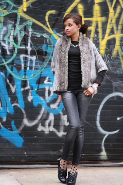 Zara cardigan - Steve Madden boots - Zara jeans - asos shirt