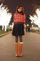 marble leather Frye boots - flannel J Crew shirt - a-line J Crew skirt