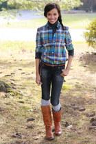 JCrew shirt - Frye boots - Zara jeans - H&M belt