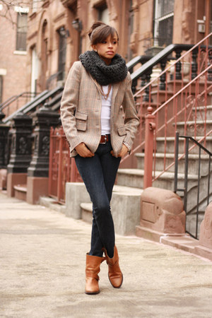 tweed Zara blazer - leather Zara boots - J Crew jeans