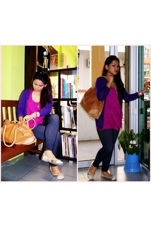 FOS top - stretch denim leggings - dark goldenrod bag - purple D & M cardigan