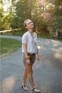 White-forever-21-blouse-brown-forever-21-shorts-brown-forever-21-belt-blac