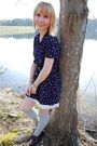 Blue-thrifted-dress-white-charlotte-russe-dress-silver-target-socks-brown-