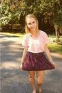Pink-thrifted-shirt-purple-urban-outfitters-skirt-brown-forever-21-belt-br