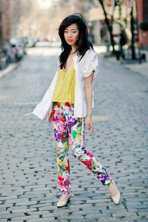 yellow Urban Outfitters top - white catherine malandrino jacket