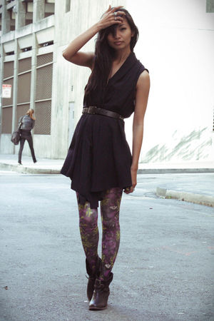 blue Zara vest - purple Urban Outfitters tights - black Mia boots