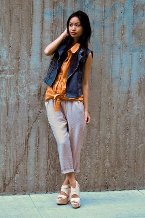 blue Forever 21 vest - orange American Apparel blouse - beige aryn k pants - bei