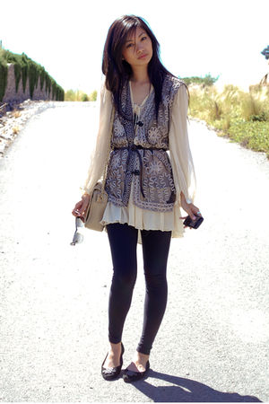 black vintage vest - black Diane Von Furstenberg shoes - beige free people dress