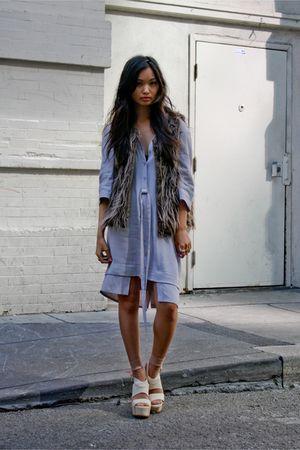 brown LF stores vest - gray maison martin margiela dress - beige Chic Swap stock