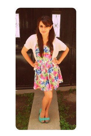 floral Forever 21 dress - bow MD heels - Old Navy cardigan