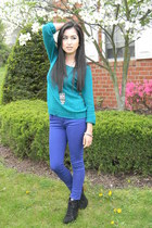 blue jeans - turquoise sweater - owl necklace