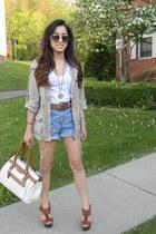 heels - military jacket - coach bag - high waisted shorts