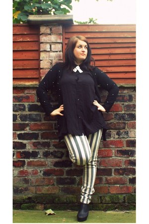 black Topshop boots - white River Island jeans - black River Island top