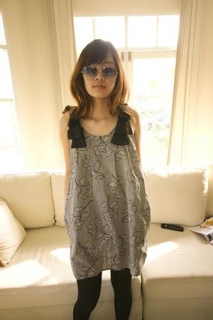 black stockings - silver dress