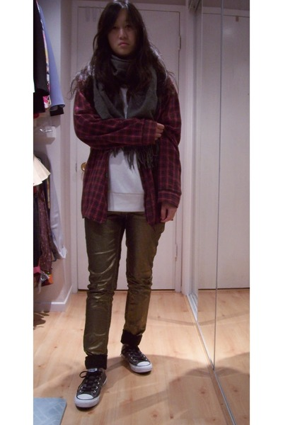 bronze skinny Love Culture jeans - brick red plaid unknown shirt