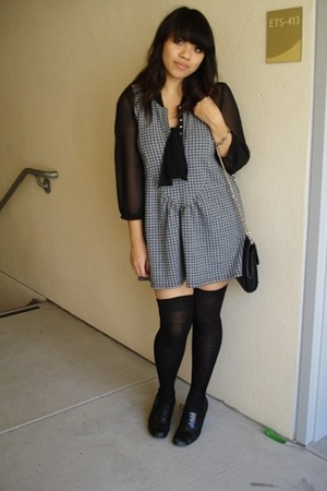 Gap blouse - Lux dress - Jcrew socks - Style &amp; Co shoes - thrifted purse