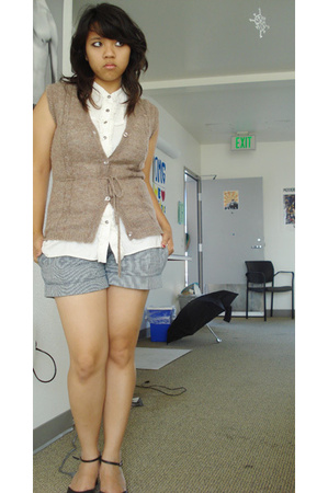 Lux top - thrifted vest - forever 21 shorts - My moms shoes