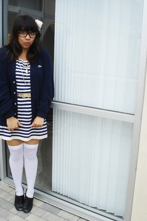 na dress - Lacoste jacket - Forever21 belt - style&co shoes