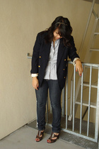 thrifted blazer - Urban Outfitters blouse - Forever21 jeans - Steve Madden shoes