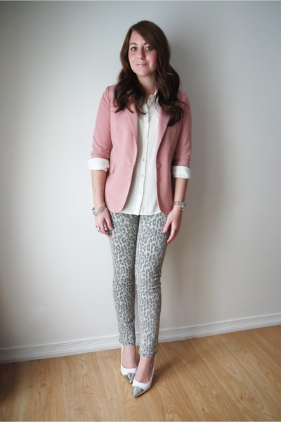leopard winners jeans - Urban Planet blazer - H&M blouse