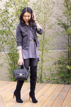 black sam edelman boots - navy denim jacket brandy melville jacket