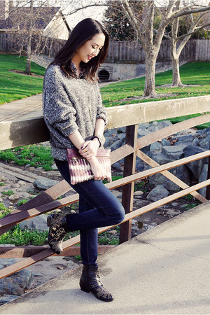 heather gray Rubbish sweater - black studded Tobi boots