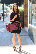 deep purple H&M sweater - magenta balenciaga purse - black lace up Zara heels