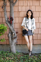 Printed Bomber Jacket & Ruffled Shorts