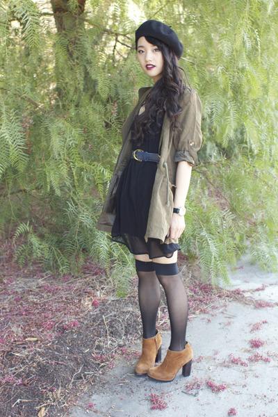 olive Runway Bandits jacket - lattice Timeless dress