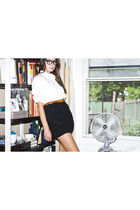 black vintage glasses - black ADAM skirt - white Jcrew shirt - JCrew belt