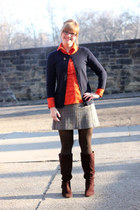 dark brown Target boots - carrot orange H&M shirt