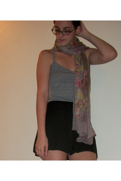 puce scarf - pink xappeal flats - black skirt - heather gray top