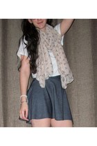 blue denim skirt - light pink bow scarf - white t-shirt
