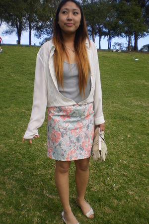 white salvos blouse - silver Singlet top - pink dress foolishly worn as skirt sk