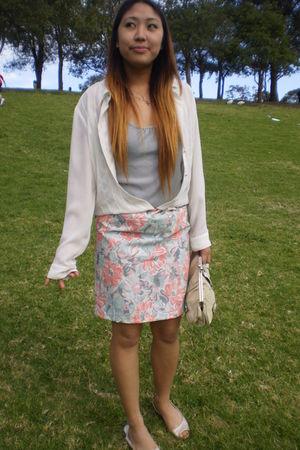 white salvos blouse - silver Singlet top - pink dress foolishly worn as skirt sk