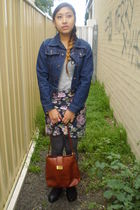 blue Levis jacket - silver Dangerfield top - purple skirt - gray tights - brown