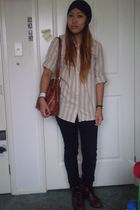 black hat - beige blouse - black Cheap Monday jeans - brown thrifted boots - bro