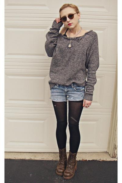 ripped croft and barrow sweater - cutoff Bongo shorts
