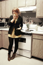 black Max Azria blazer - black Target tights - gold H&M dress - brown Target boo