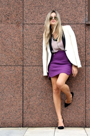 purple Zara skirt - off white Zara blazer - H&amp;M shirt - Ray Ban sunglasses