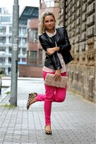 Zara loafers - black Zara jacket - peach H&M purse - hot pink Zara pants
