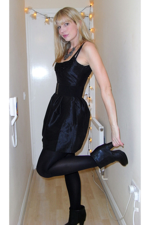 black Kate Moss for Topshop dress - black ASH boots
