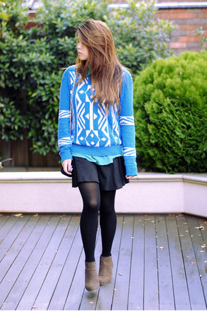 aquamarine Forever 21 sweater - tan Kmart boots - teal SM philippines shirt