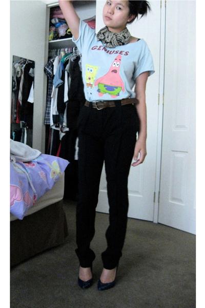 black calvin klein pants - blue Midas shoes - blue spongebob squarepants t-shirt