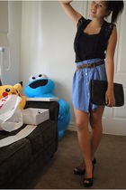 black thrifted vest - black top - blue thrifted skirt - black shoes - black Nine